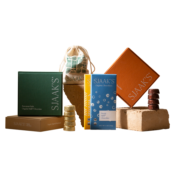 A collection of Sjaak's Organic Chocolate products