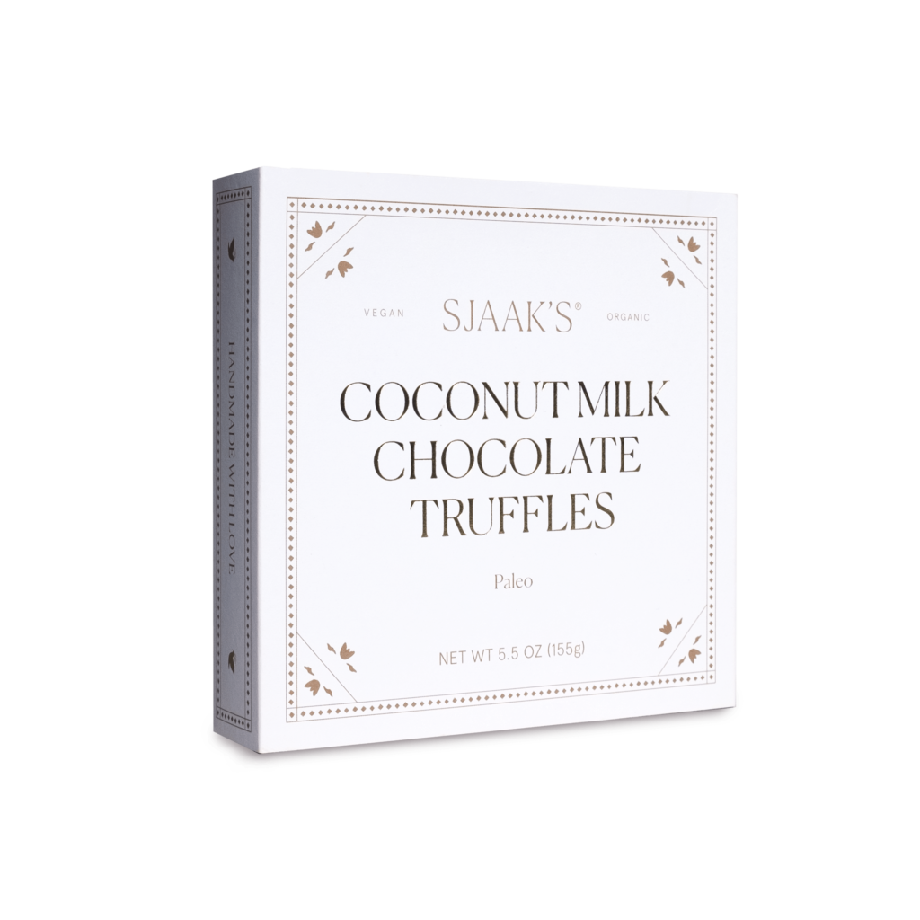 Front view of the Paleo Coconut Milk Truffles box