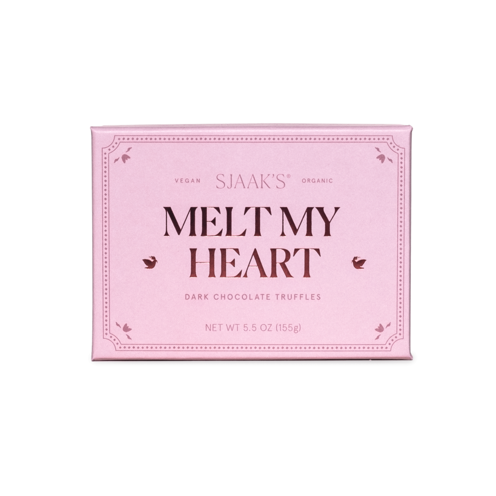"""Front view of the """"Melt My Heart"""" Dark Chocolate Melty Truffles box"""