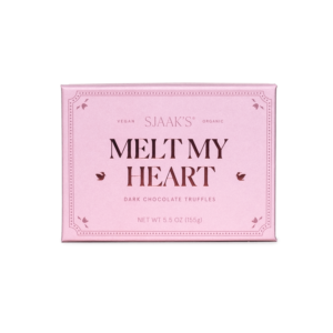 "Front view of the ""Melt My Heart"" Dark Chocolate Melty Truffles box"